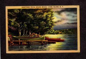 NY Greetings From Sound Beach Long Island New York Linen Postcard