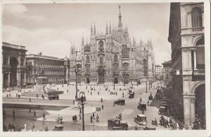 Italy Milano Cathedral Square animated RPPC classic cars, Alte Autos