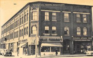 Reading MA Masonic Hall Millis Pharmacy Old Cars Postcard