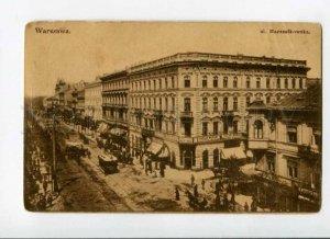 289132 POLAND Warszawa Warsaw Marzalkowska street TRAM crash Vintage postcard