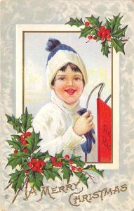 Christmas~Boy in Blue Stocking Cap~White Turtleneck~Red Racer Sled~Emboss~241 F