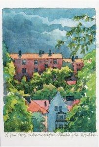 Stockholm Sweden Stunning Artist Sketch Painting Postcard