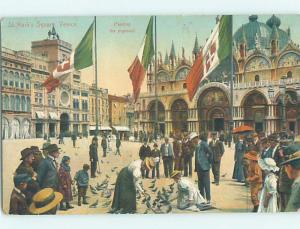 Old Postcard MANY FLAGS AT ST. MARK'S SQUARE Venezia - Venice Italy F5575