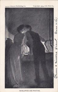 Romantic Couple Kissing Developing and Printing Detroit Publishing