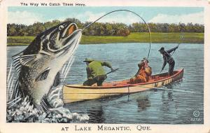 Way We Catch Them at Lake Megantic Quebec~Men Fight Exaggerated Fish~Boat~1920