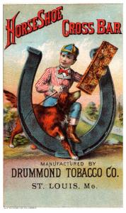 Trade Card ,  Drummond Tobacco , boy & dog in horseshoe