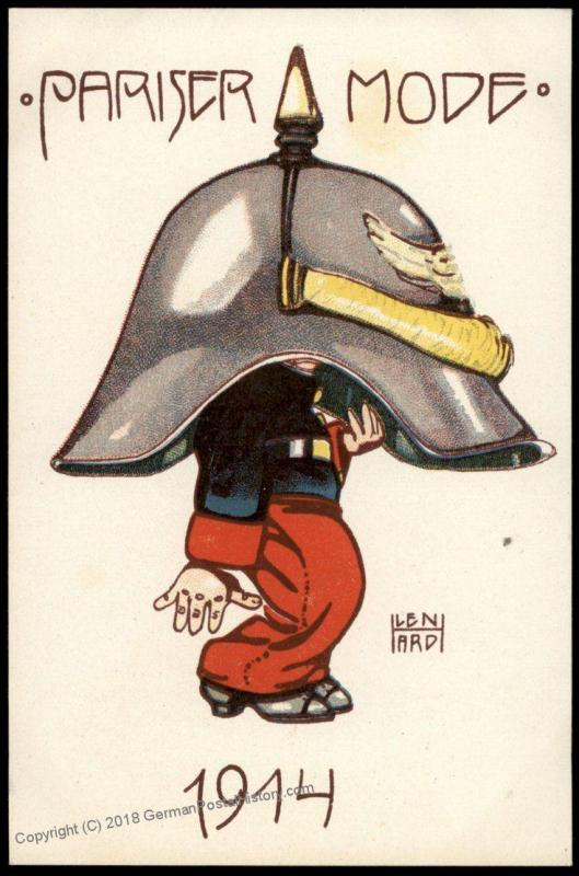Germany WWI Patriotic Anti France Card Pariser Mode Parisian Style Spiked  81126