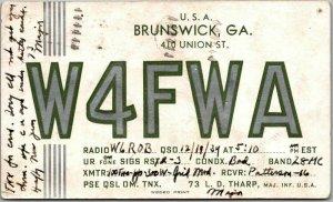 1939 Brunswick, Georgia Postcard QSL Amateur Ham Radio Card W4FWA L.D. Tharp