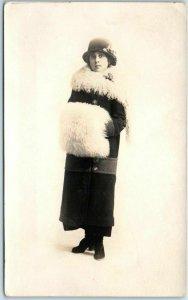 1910s RPPC Studio Photo Postcard Woman w/ Fur Stole & Muff in Hat & Overcoat