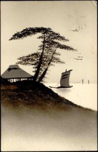 Japan, Hand Painted Art Postcard in Oil, Lake Boat 1914