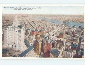 W-Border MUNICIPAL BUILDING & PARK ROW & EAST RIVER New York City NY A5564
