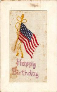 9163 Happy Birthday, American Flag embroided and raised
