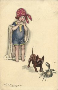 PC CPA MAUZAN, ARTIST SIGNED, GIRL WITH DOG AND CRAB, Vintage Postcard (b26546)