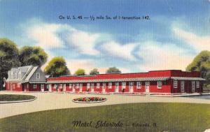 Eldorado Illinois Motel Exterior Street View Linen Antique Postcard K21899