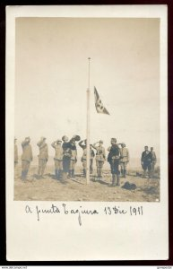 1168- LIBYA Tajura 1911-12 Italo-Turkish War Soldiers Raising Flag Real Photo PC