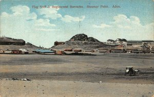 Yemen Aden Flag Staff & Regimental Barracks Steamer Point postcard