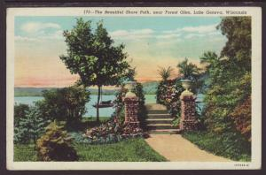 Shore Path,Near Forest Glen,Lake Geneva,WI Postcard