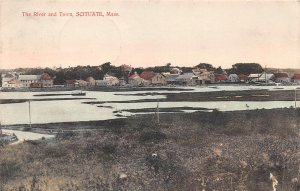 LPS48 Scituate Massachusetts River and Town View Hand Colored Postcard