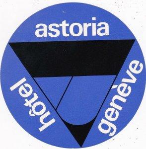 Switzerland Geneve Hotel Astoria Diameter Vintage Luggage Label sk4160