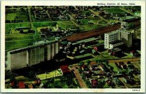 El Reno, Oklahoma Postcard Milling District Aerial View Curteich Linen c1940s
