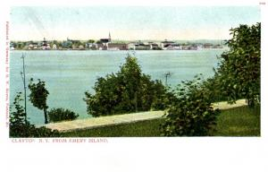 16363  Aerial view of Clayton NY from Emery island