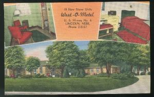 Lincoln NE West-O-Motel 1954 Linen Postcard Motel HWY 6