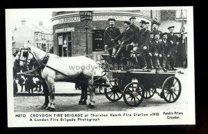 pp2472 - Thornton Heath Fire Brigade & Station c1910 - Pamlin Postcard No.M2113