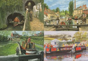 English Waterway Canal Painting Tug Boat 4x Postcard s