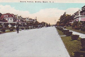 P1271 old unused postcard street view 2nd ave bradley beach new jersey