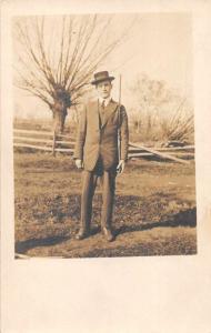 Man Holding Gun Real Photo Antique Postcard J73070