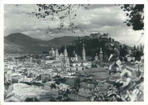 Austria Salzburg city view cloudy weather vintage Postcard