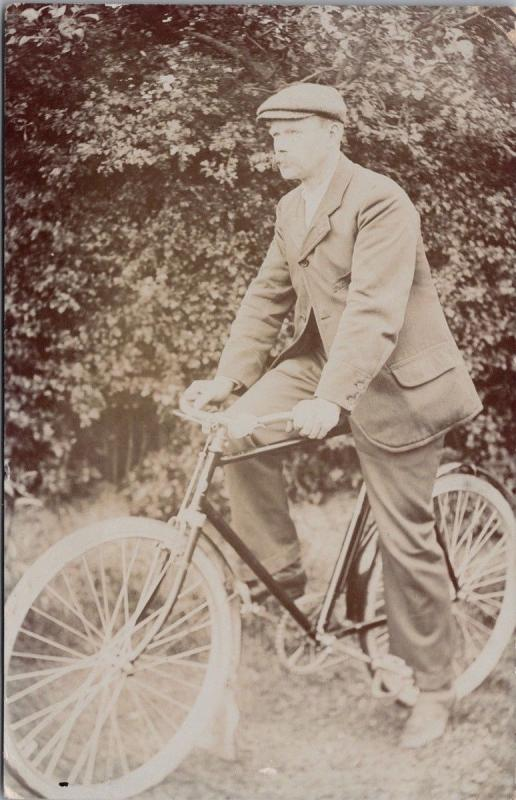 Man on Bike c1907 RPPC Real Photo Postcard E35