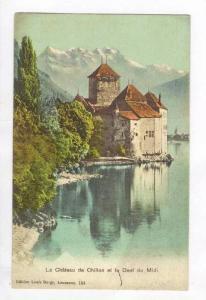 Le Chateau de Chillon et la Dent du Midi,nr Montreux,Switzerland 1900-10s