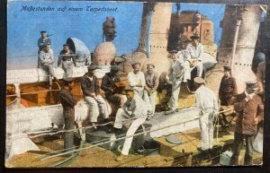 Mint Germany Color picture Postcard Passing The Time At The Torpedoboat