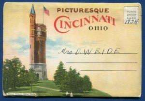 Cincinnati Ohio oh 1920s postcard folder foldout