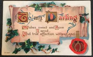 """Vintage Postcard Used Embossed """"To My darling...""""  LB"""