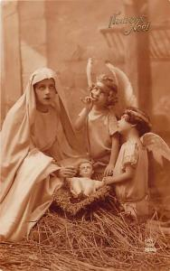 RPPC of a Nativity Scene with Little Girls as Angeles Made in France