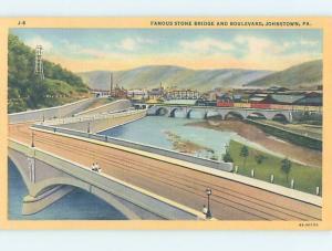 Unused Linen BRIDGE SCENE Johnstown Pennsylvania PA H8186
