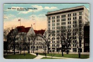 Columbus OH, Post Office, Hartman Theatre Building, Vintage Ohio c1917 Postcard