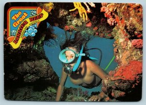 Postcard Australia Queensland Great Barrier Reef Nude Topless Female Diver 2 AD6