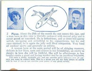 1920s ARCADE CARD Mutoscope Pisces ASTROLOGY HOROSCOPE Romance Comic Unused