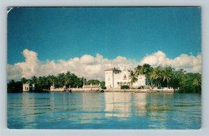 Miami FL- Florida, Vizcaya From the Bay, Dade County Art Museum, Chrome Postcard