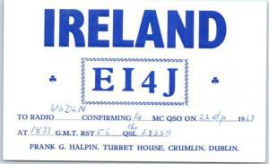 Vintage Dublin, IRELAND Postcard QSL Ham Radio Card EI4J Frank G. Halpin 1967