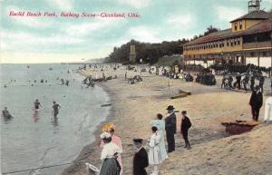 Cleveland Ohio~Euclid Beach~Men-Victorian Ladies on Beach~c1910 Postcard