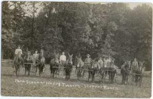 RPPC of Horse & Mule & Guys, Teams in Farm Scene at Henry Turner Harper Ranch,
