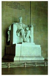 Statue of Abraham Lincoln at Lincoln Memorial Washington DC Vintage Postcard