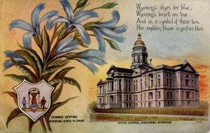 WY - State Flower & Capitol. Fringed Gentian & Cheyenne