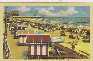 New Jersey Atlantic City Beach Scene Showing The Cabannas