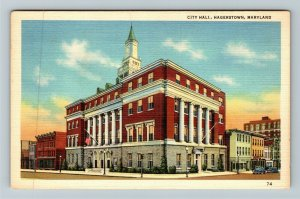 Hagerstown MD-Maryland, City Hall, Linen Postcard