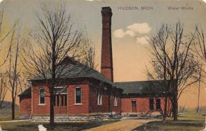 Hudson Michigan~Water Works~Smokestack~1912 PCK Postcard